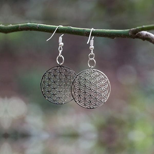 Flower of Life Earrings - Silver