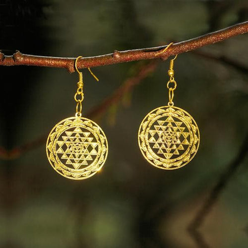 Sri-Yantra Earrings - Gold