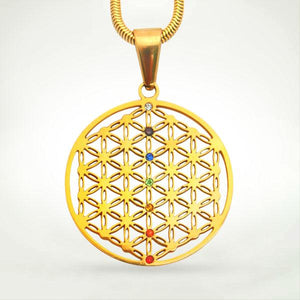 Sacred Geometry Pendants - Flower Of Life Pendant - Gold With Chakra Gems