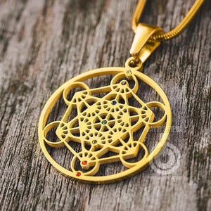 Sacred Geometry Pendants - Metatron Pendant - Gold With Chakra Gems