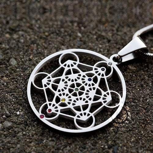 Sacred Geometry Pendants - Metatron Pendant - Silver With Chakra Gems
