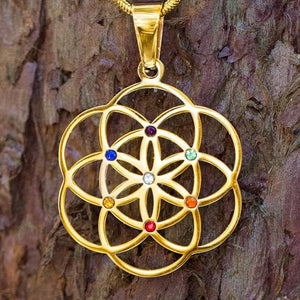 Sacred Geometry Pendants - Seed Of Life With Chakra Gems Pendants
