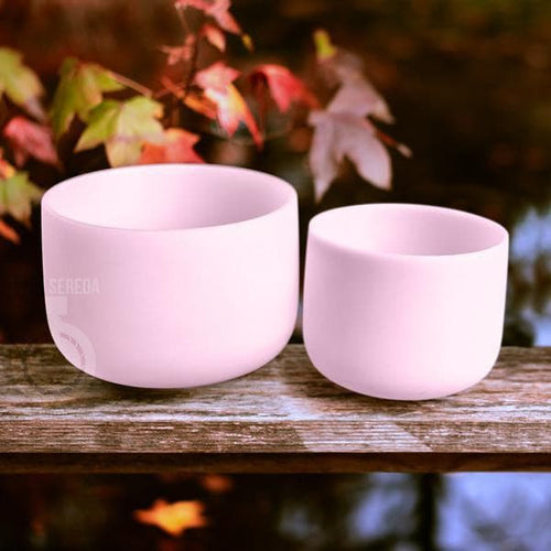 SInging Bowls - Light Stream™ Rose Quartz Alchemy Crystal Bowls Set