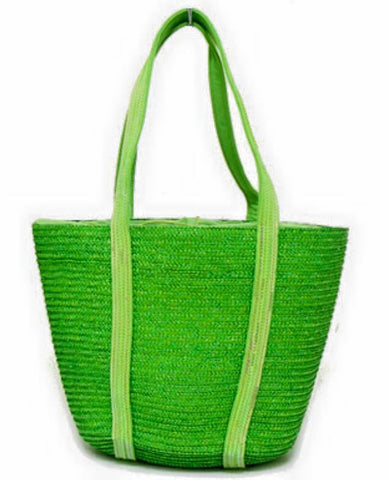 sequin green straw bag