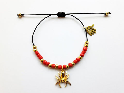 gold spider bracelet red