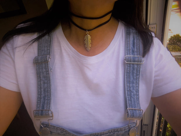 Multi Layer Choker With Leaf Charm