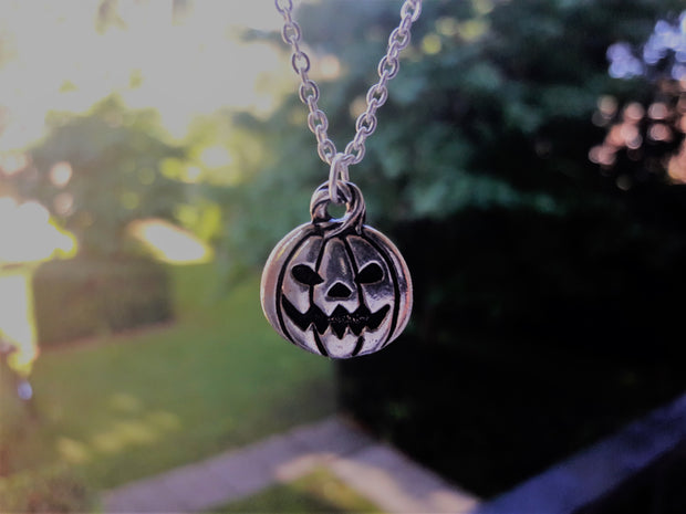 silver pumpkin necklace