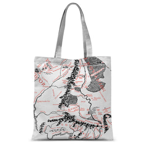 Hobbits Lord of the Ring Map Sublimation Tote Bag