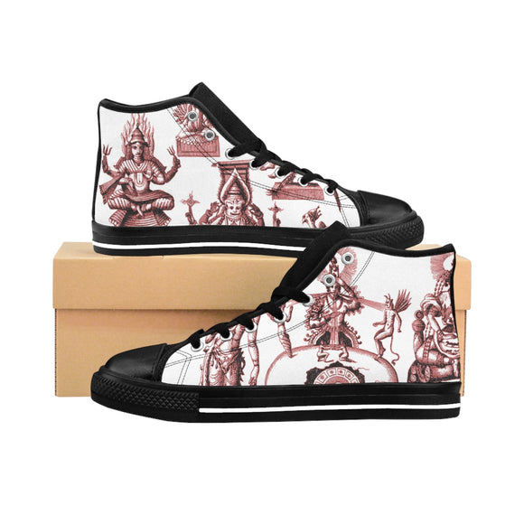 Women's High-top Sneakers Hinduismus and Buddhism Symbols