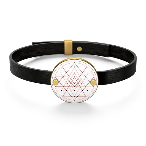 Sri Yantra Leather Bracelet