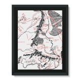 Hobbits Lord of the Ring Map Framed Eco-Canvas