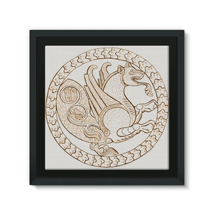 Senmurw,  a fabulous, mythical bird Framed Eco-Canvas