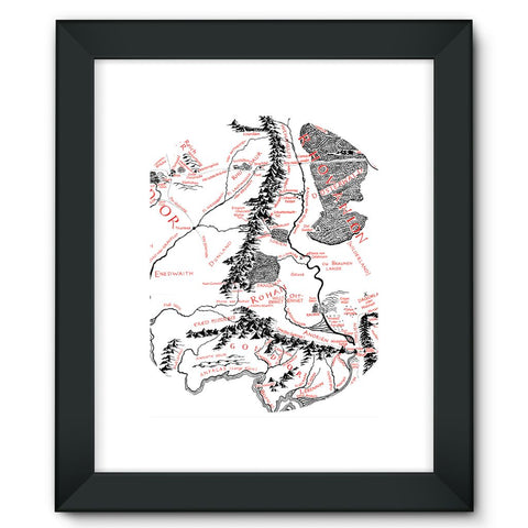 Hobbits Lord of the Ring Map Framed Fine Art Print
