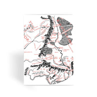 Hobbits Lord of the Ring Map Greeting Card