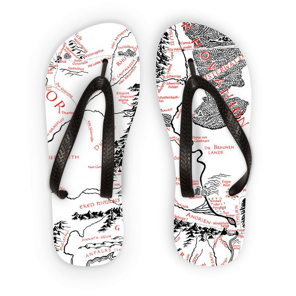 Hobbits Lord of the Ring Map Flip Flops