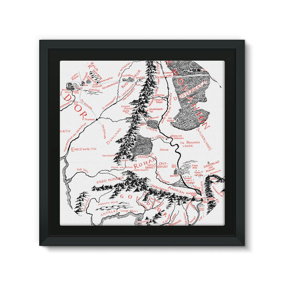 Hobbits Lord of the Ring Map Framed Canvas