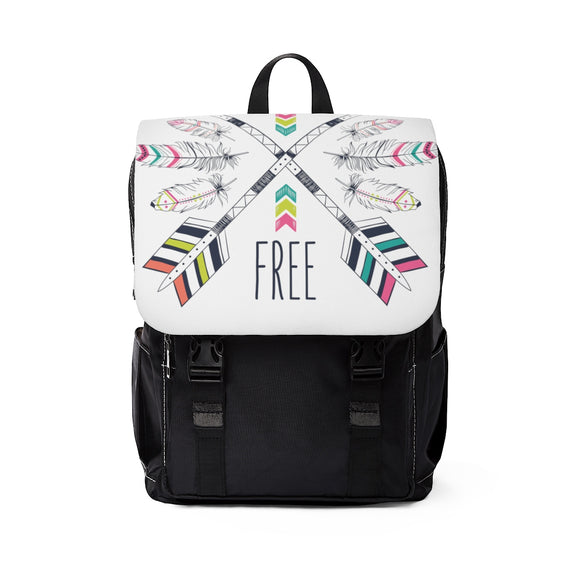 Shoulder Backpack White Arrow and Feather