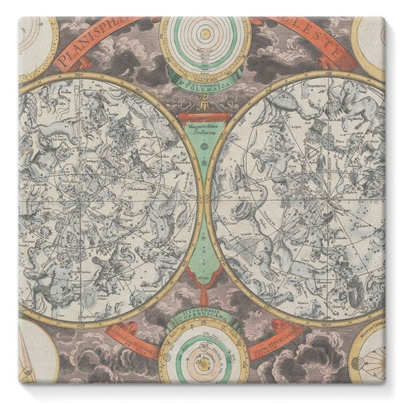 Planisphere Norimbergensis Astrology Map Stretched Canvas