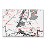 Hobbits Lord of the Ring Map Stretched Canvas