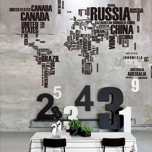 Map Of The World English Letters Decal Art Mural Home Decor Wall Stickers