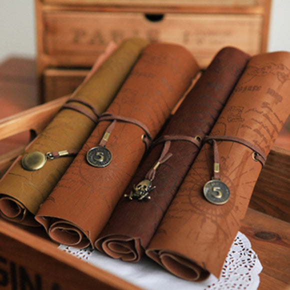Treasure Map Leather Pencil Case Bag  women bag pencil cases Makeup Bag women messenger bags