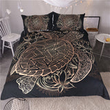 BeddingOutlet Turtles Bedding Set Animal Tortoise Duvet Bed Cover Set Flowers Lotus Home Textiles 3pcs