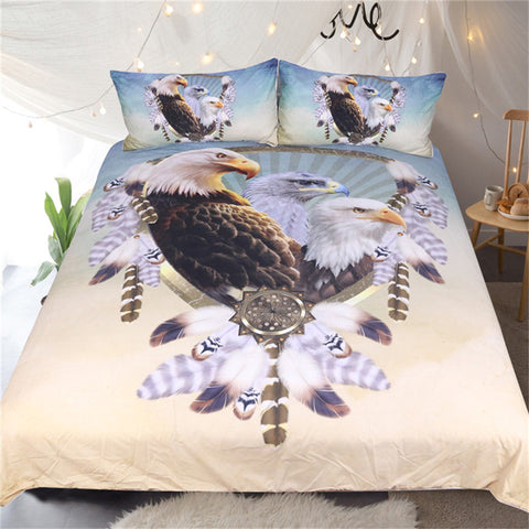 BeddingOutlet Three Eagles Bedding Set Queen Size Feathers Dreamcatcher Duvet Cover Bedclothes 3pcs Animal Bedspreads