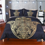 BeddingOutlet Hamsa Hand Duvet Cover With Pillowcase Black Dark Blue Bedding Set Soft  Microfiber  Quilt Cover Set 3Pcs