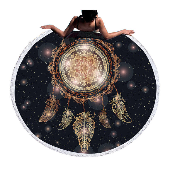BeddingOutlet Dreamcatcher Tassel Mandala Tapestry Large Round Beach Towel Yoga Mat