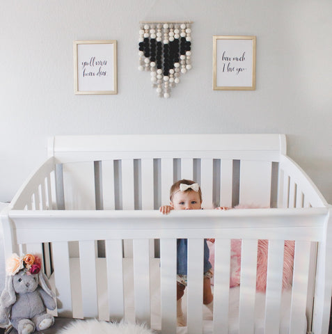 Black and White Heart Nursery Wall Hanging