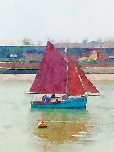 Gaff Rig boat sailing on the River Medway Greetings Card