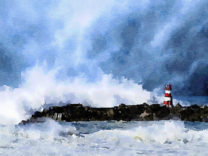 Print of Lighthouse in Storm
