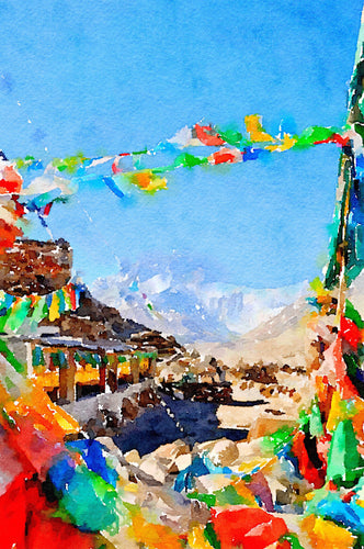 Prayer flags and wheels on Mount Everest GREETINGS CARD