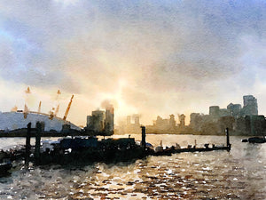 Sunset over the Thames at Trinity Buoy Wharf