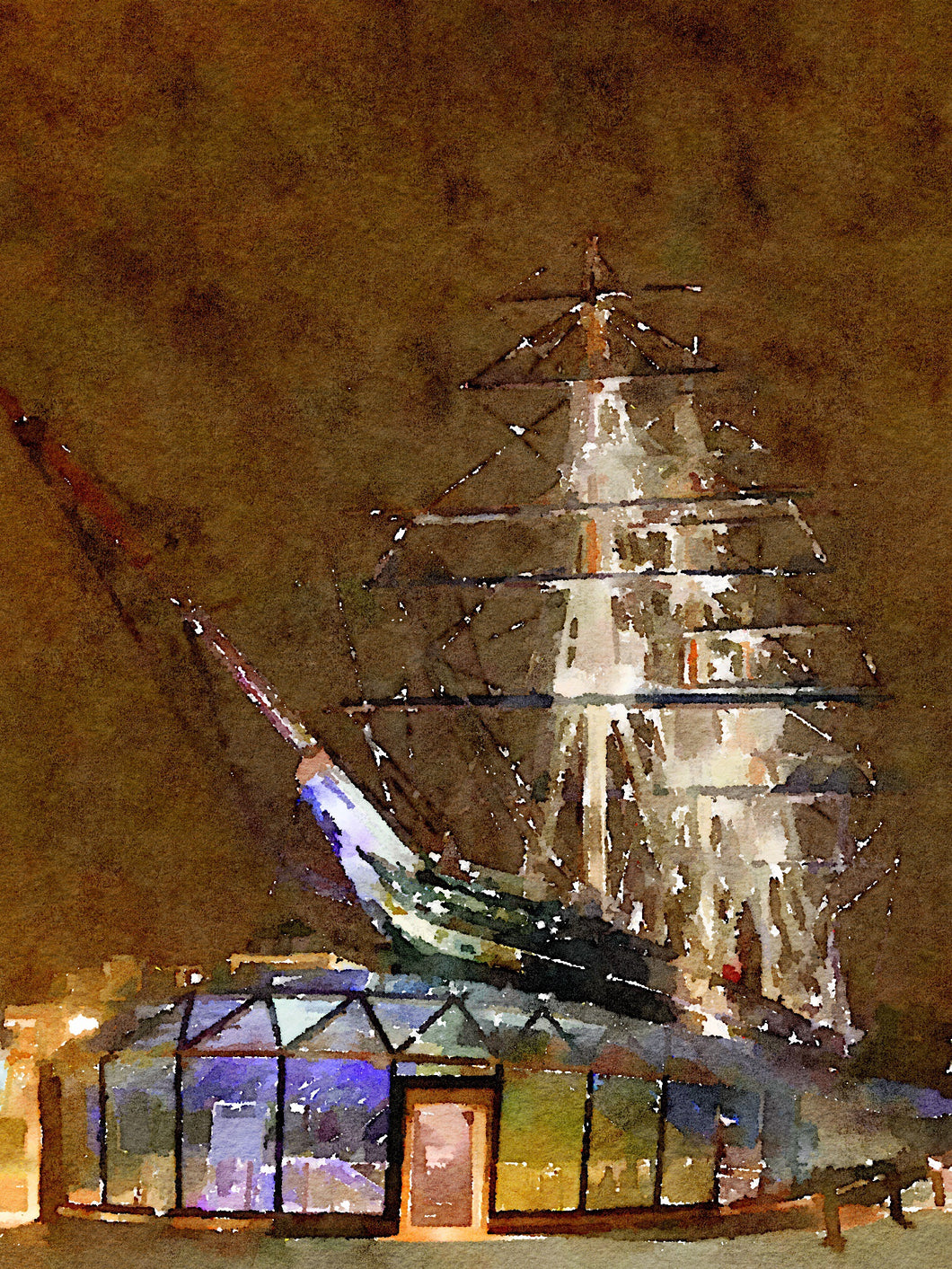 The Cutty Sark In Greenwich at night. Print.
