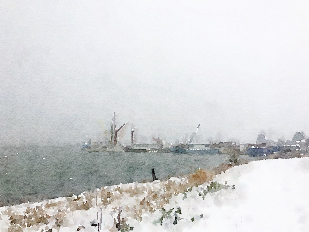 Thames Barges in the snow