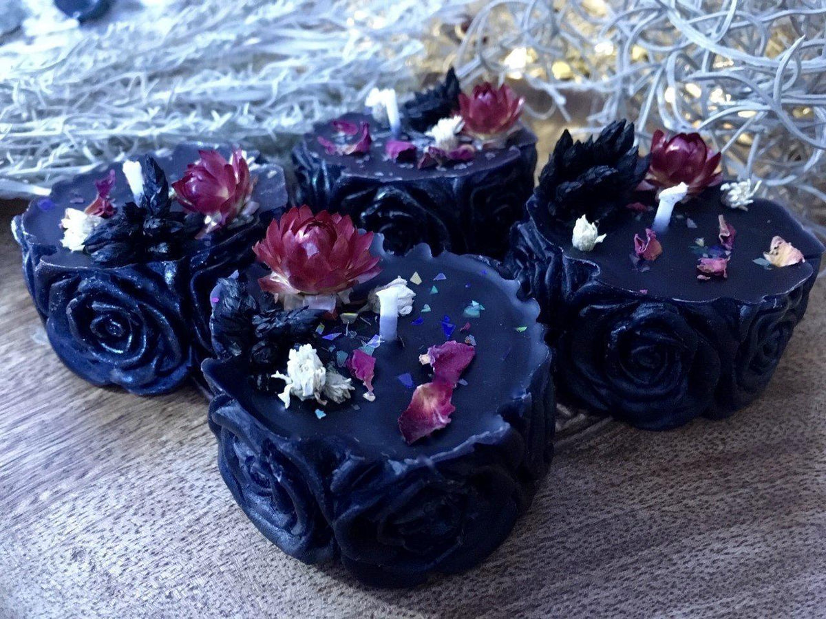 Black Rose Candle, rose candle - SugarMuses