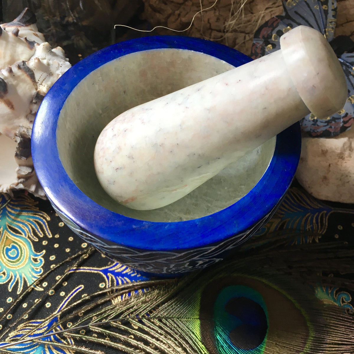 Blue Soapstone Mortar and Pestle, altar supply - SugarMuses