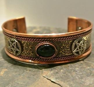 Brass/Copper Black Tourmaline Adjustable Bracelet, copper bracelet - SugarMuses