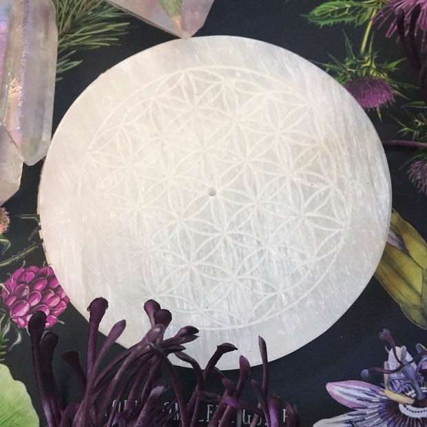 Flower of Life - Selenite Incense Holder Tile/ Crystal Grid, Selenite flower of life plate - SugarMuses