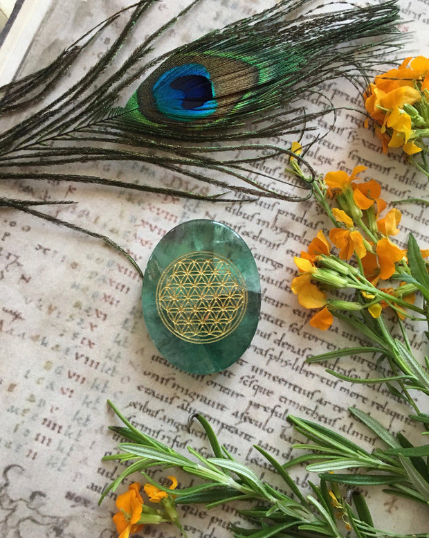 Fluorite Engraved Flower of Life- For finding your life's purpose, gemstones - SugarMuses