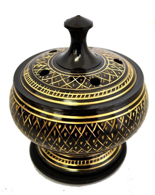 Gold and Black Incense Burner, brass incense burner - SugarMuses