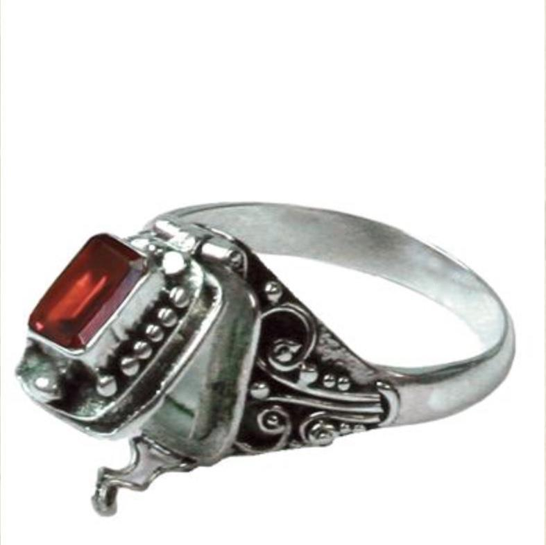 Gothic Poison Ring-Garnet and Sterling Sliver, victorian ring - SugarMuses