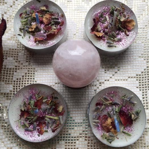 Love Divination Kit with Rose Quartz Crystal Ball and Candles, crystal ball set - SugarMuses