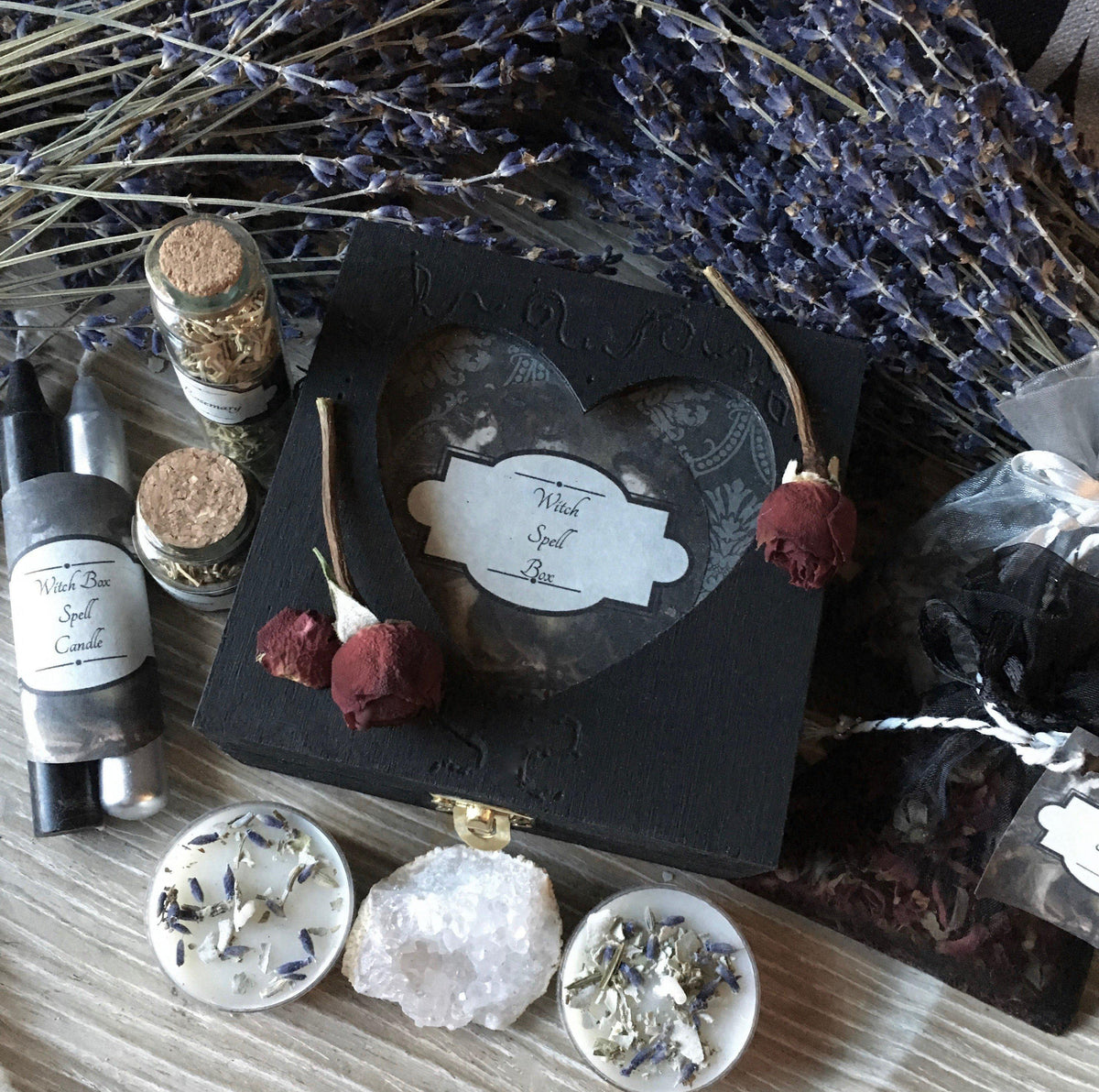 Love Trinket Box with Candles, Incense & Gemstones, Spell Kit - SugarMuses