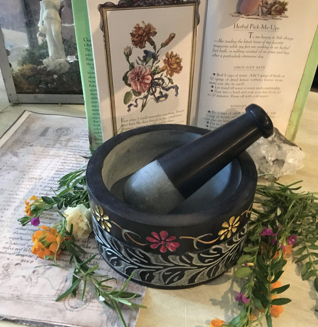 Mortar and Pestle - Floral Design, mortar and pestle - SugarMuses