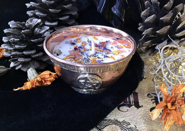 Pentacle Copper Bowl Candle, candle - SugarMuses
