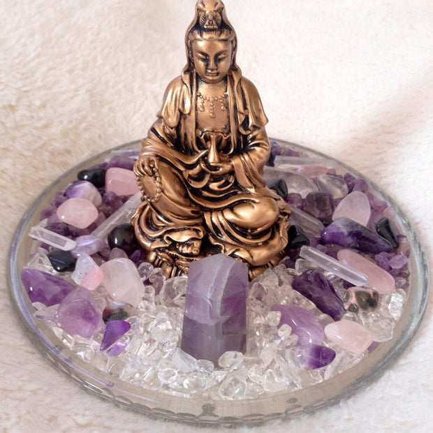 Purple Amethyst Goddess Statue with Beautiful Collection of Gemstones, crystal grid - SugarMuses