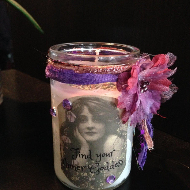 Purple Inner Goddess Candle' infused with Lavender, Heather, Special Herbs, Candles - SugarMuses