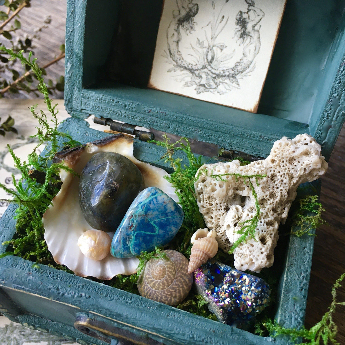 Sea Witch Collection- Ocean Turquoise Crystal Gift Wood Box, crystal gift box - SugarMuses